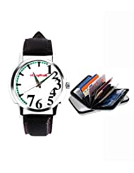 Elligator 503-White Round Analog Watch With Silver Cardholder Combo