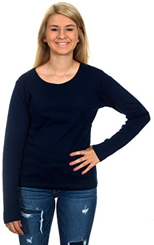Women's Casual Long Sleeve Shirt (Navy Blue, X-Small)