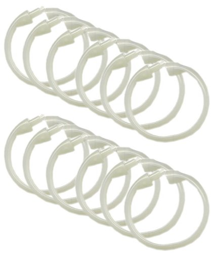 12-Pack Clear Shower Curtain Rings Set
