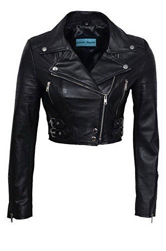Chic nero corta giacca da motociclista in pelle delle donne 12