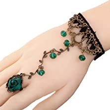 buy Yazilind Jewelry Noble Lolita Green Rose Branch Shape Crystal Metal Black Lace Slave Bracelets With Ring Wedding Party For Women