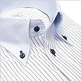 襟高デザイン ドレスシャツ ボタンダウン 長袖ワイシャツ (Yシャツ)