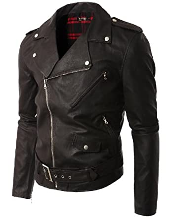 faux leather motorcycle jacket men