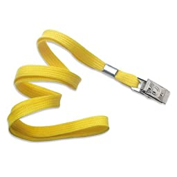 TruOffice Yellow 36-Inch Flat Lanyards with Badge Clip, 100-Pack (CLANF36-YL)