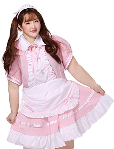 BS Japan Anime Uniforms [Plus size French Maid] Pink 1X-5X (14-32)