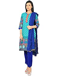 Rama Suit Set Of Dark Green Color Printed Cotton Kurti With Pent And Duppatta