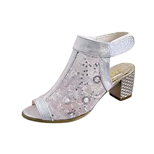Hee Grand Women Fashion Lace Peep-Toe Thick Heel Sandals