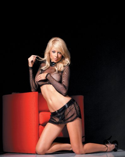 Long Sleeve Stretch Fishnet Mini-Shirt, Skirt & G-String