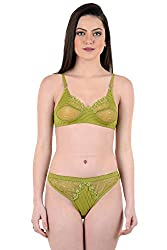AnS Enterprise Women's Net and Hosiery Material Bra & Penty in Green Color- 28