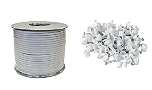 Kontract RG6 100 m Digital Satellite Aerial Cable with 100 Cable Clips - White