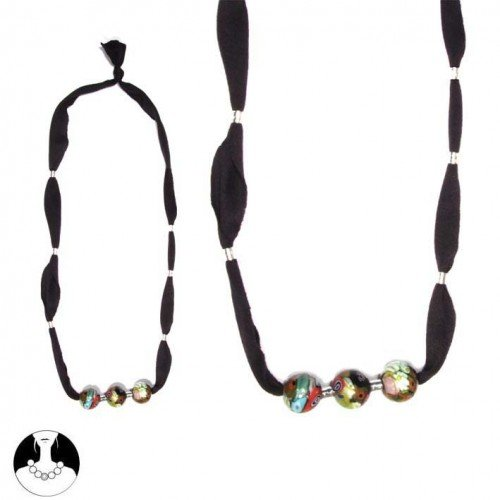 SG Paris Necklace Ajustable Black Fabric Multicolor Glass Multicouleur Necklace Cord Adjustable Fabrics Summer Women Hippy Chic Fashion Jewelry / Hair Accessories Ball