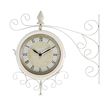 Deco 79 35411 Metal Outdoor Double Clock, 15 by 15-Inch