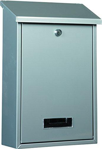 B311N Design Briefkasten + ROSTSCHUTZLACKIERUNG + gebürstetes Edelstahl Namensschild & Schutzklappe + rostfrei + abschließbar und 2 Schlüsseln