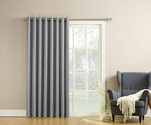 Sun Zero Millennial Becca Extra Wide Energy Efficient Patio Curtain Panel, 100 by 84 Inch, Solid, Grey (One Panel Grey Curtains compare prices)