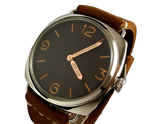 Parnis Brown Dial Seagll 3600 Swan Neck Movement Hand-winding Mens Watch
