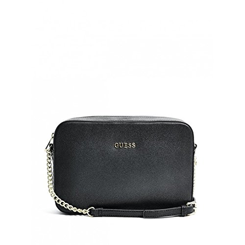 Guess Isabeau Large Crossb Top Zip Borsa a Tracolla, Donna, Nero