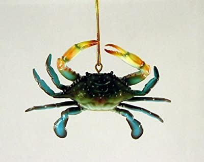 3D Coastal Maryland Blue Crab Tiki Bar Decor Ornament