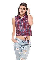 Shuffle Women's Sleeveless Check Shirt with Lace Yoke (1021504201_Red And Blue Checks_Small)