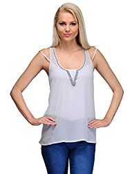 Curvy Q Sleeveless Women's White::Silver Top