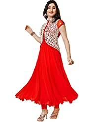 RADADIYA TRD Hot Red Embroidered Koti Dress Material For Women's