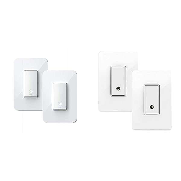 Wemo Wi-Fi Light Switch 3-Way 2-Pack Bundle (WLS0403-BDL) & Smart WiFi Light Switch 2-Pack Bundle, Works with Amazon Alexa and Google Assistant (F7C030-BDL)