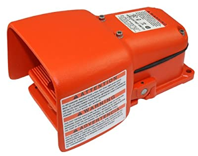 Linemaster 531-SWH Hercules Foot Switch, Electrical, Single Pedal, Momentary, Single Stage, Full Aluminum Guard, Orange