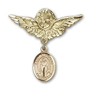 14K Gold Baby Badge with St. Barnabas Charm and Angel with Wings Badge Pin