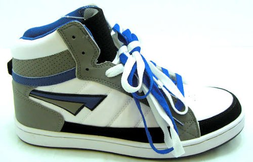 Boy's Brooklyn White & Cobalt Blue Hi Top Baseball Boots