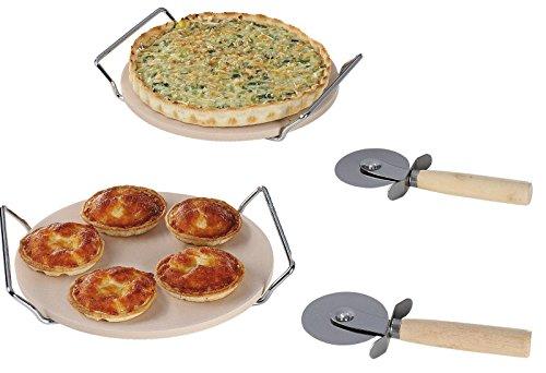 Lot de 2pierres à pizza en céramique et 2emporte-pièces à pizza pour barbecue peut être utilisé sur
