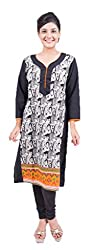 Krivi By Kk Women's Cotton Kurti (KRV-17-B_Black_M)