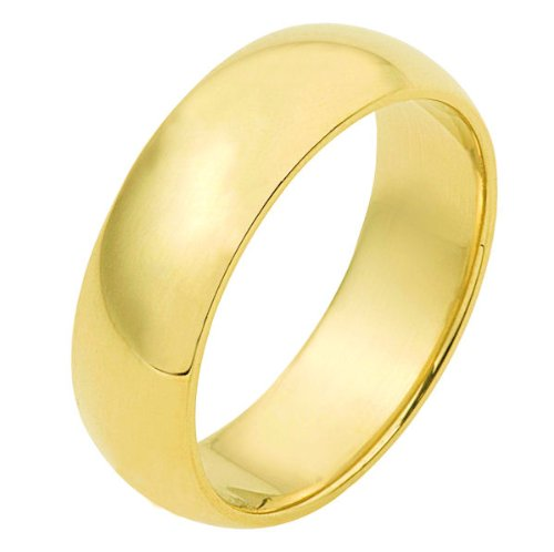 14K Yellow Gold, Light Half Round Wedding Band 7MM (sz 15.5)