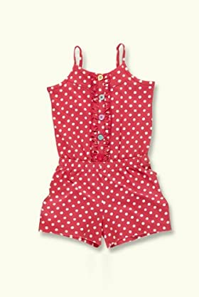 Pure Cotton Spot Ruffle Playsuit [T77-8047C-Z]