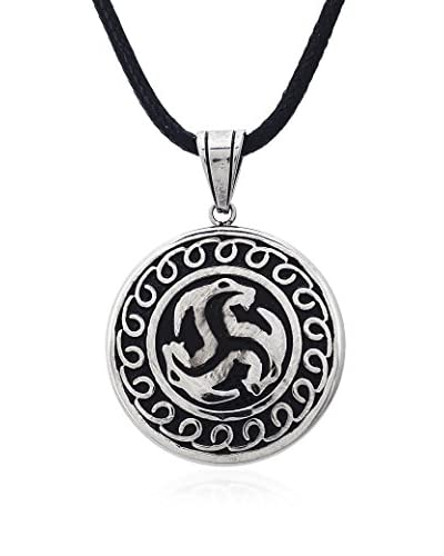 1913 Stainless Steel Circle & Black Leather Necklace