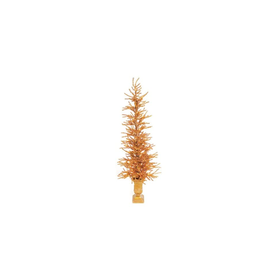 Set of 2 Pre Lit Gold Potted Tinsel Twig Christmas Trees 4.5   Gold Lights