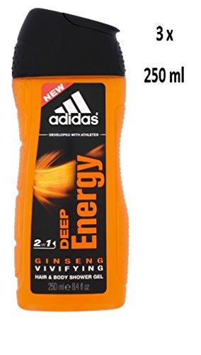 3x Adidas Men capelli & Gel Doccia 2in1Deep Energy-250ml
