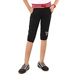 Menthol Girls Stylish Capri (11-12 Years, Black)