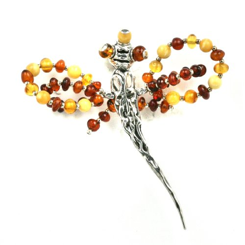 Baltic Butterscotch and Honey Amber Sterling Silver Little Museum Collection Dragon Fly Pin 19th Century