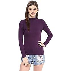 Hypernation Purple Color High Neck Cotton T-shirt For Women