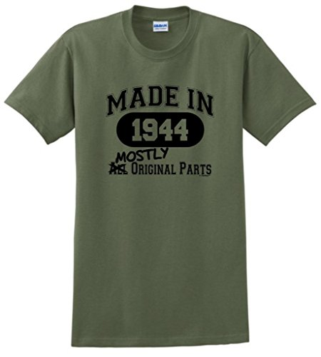 Made In 1944 Mostly Original Parts 70Th Birthday T-Shirt Xl Military Green front-874738