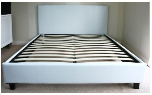 4ft 6 Double White Faux Leather Prado / Haven Bed, Free Next Day Delivery