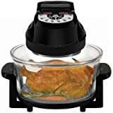 Big Boss Rapid Wave Halogen Infrared Convection Countertop Oven - 12 ½ Quart with Extender Ring Glass Bowl - Digital Presets