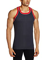 Jockey Mens Cotton Vest (8901326105566_9925-0105-GP-TR Graphite and Team Red XL)