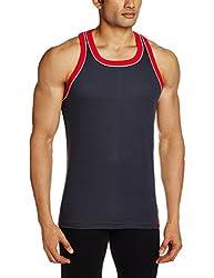 Jockey Mens Cotton Vest (8901326105566_9925-0105-GP-TR Graphite and Team Red XL)