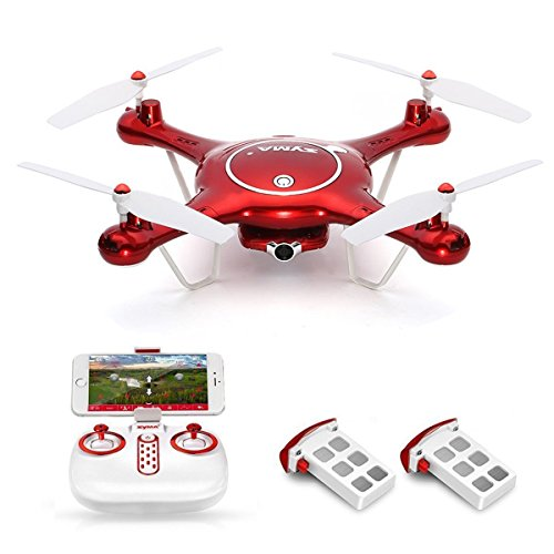 Syma-X5UW-Wifi-FPV-Drone-with-720P-HD-Camera-Live-Video-Barometer-Set-Height-HL-Speed-Extra-Battery-RTF-RC-Quadcopter