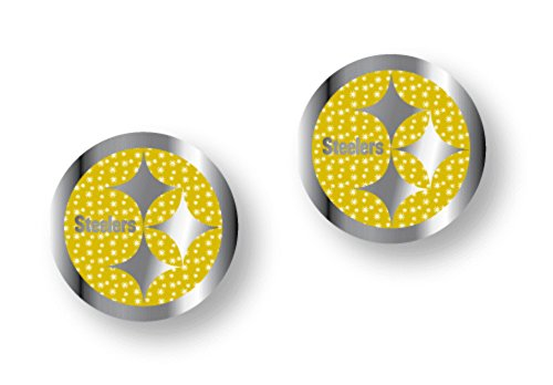 Licensed Nfl Pittsburgh Steelers Team Logo And Colors Post Earrings W/Glitter (Gift Box Included)