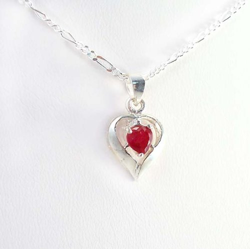 Birthstone July Red Heart Crystal Sterling Silver Necklace, 20