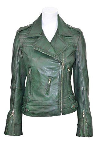 'ROSE' Ladies RED GREEN WASHED Designer Motorcycle Biker Style ROCK Leather Jacket (UK 12/US 8, GREE..