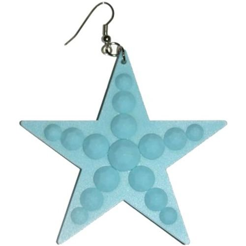 Big Plastic Star Earrings In Light Blue with Silver Finish