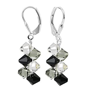 "SCER010 Simple Beauty Black Clear Genuine Crystals Sterling Silver Leverback 1.5"" Dangle Earrings MADE WITH SWAROVSKI ELEMENTS"