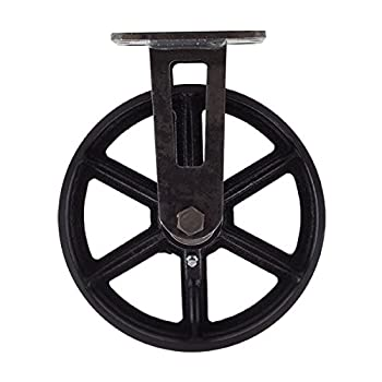"8"" CC Vintage Rigid Caster - Plate Mount - Black Cast Iron Wheel"